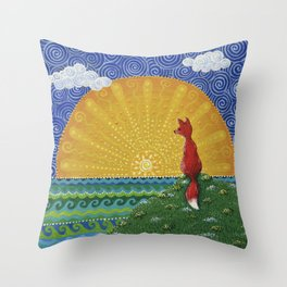 Fox in the Morning Throw Pillow