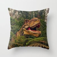 t rex Throw Pillows featuring T Rex by Shalisa Photography
