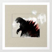 godzilla Art Prints featuring Godzilla by Sabine Israel