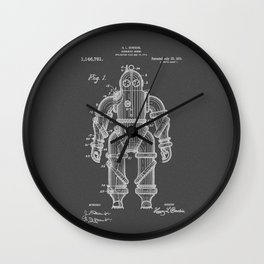Submarine Armor Patent Black And White Diagram Wall Clock