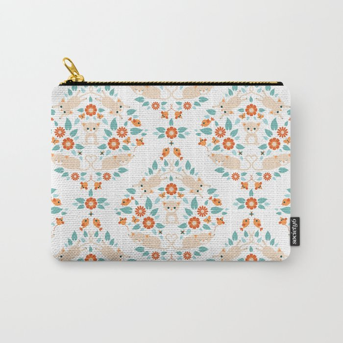 Cat damask on white Carry-All Pouch