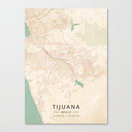 Tijuana, Mexico - Vintage Map Canvas Print