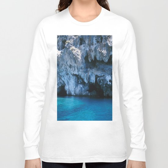 NATURE'S WONDER #3 - BLUE GROTTO #art #society6 Long Sleeve T-shirt