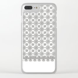Vintage White Crochet Square Lace Pattern Clear iPhone Case