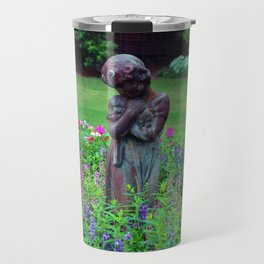 Child With Her Pet Statue Travel Mug