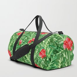 Holly Jolly Christmas Leaves & Berries (Large Pattern) Duffle Bag