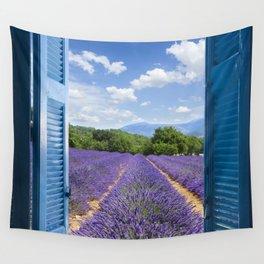 wooden shutters, lavender field Wall Tapestry
