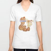 conan V-neck T-shirts featuring Late Night Barbarian by Enkel Dika