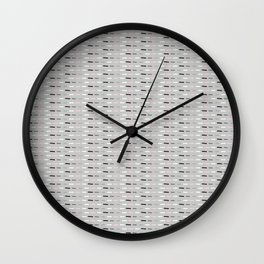 Geometric Doodle Stripes Grey Pink Wall Clock