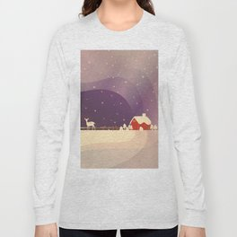 Peaceful Snowy Christmas (Plum Purple) Long Sleeve T-shirt