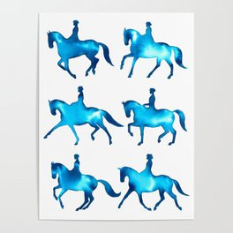 Turquoise Dressage Horse Silhouettes Poster