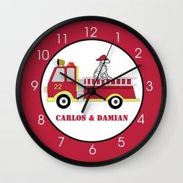 Firetruck and Dalmatian Fire Engine Wall Clock