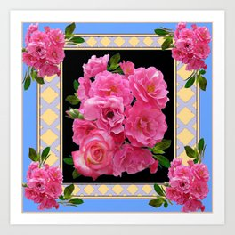 BABY BLUE-CREAM PINK ROSE CLUSTER ART Art Print