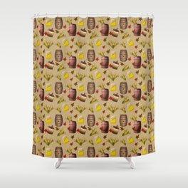 Fall Whiskey Making Barrels   Corn Pattern Shower Curtain