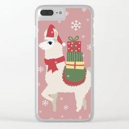 Cute Christmas Llama Clear iPhone Case