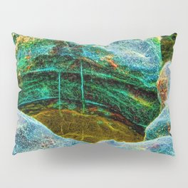 Abstract rocks with barnacles and rock pool Pillow Sham