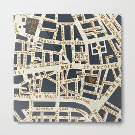 PARIS MAP GREY GOLD Metal Print
