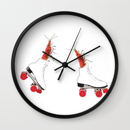 Roller skating maniacs Wall Clock