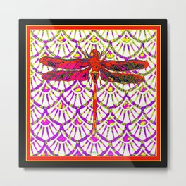 Decorative Red Color Art Deco Dragonfly Metal Print