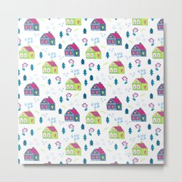 Pink lime green teal blue hand painted floral cute houses Metal Print