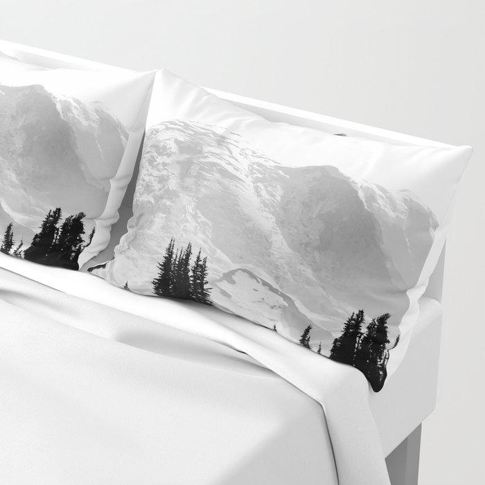 Mount Rainier Black and White Pillow Sham
