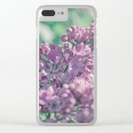 Pastel ultra violet colors. A branch of lilac close-up. Clear iPhone Case