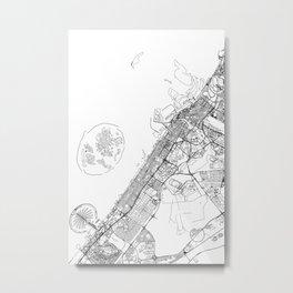 Dubai White Map Metal Print