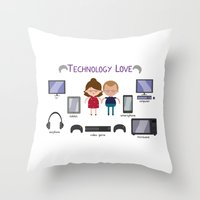 technology Throw Pillows featuring Technology Love by Juliana Motzko