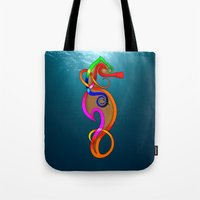 psychadelic Tote Bags featuring Psychadelic Seahorse Knot by Knot Your World