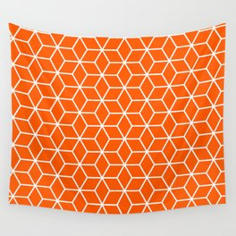 Winter 2019 Color: Unapologetic Orange in Cubes Wall Tapestry