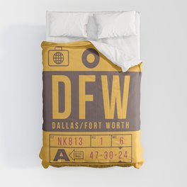 Baggage Tag B - DFW Dallas Fort Worth USA Comforters
