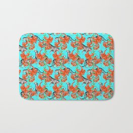 Tigers and Tiger Lilies (Blue Background) Bath Mat