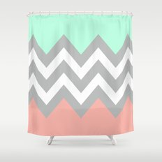 DOUBLE COLORBLOCK CHEVRON {MINT/CORAL/GRAY} Shower Curtain