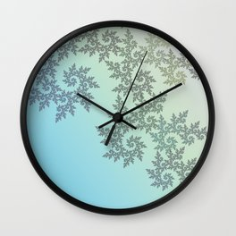 Curly frost patterns on a pastel background Wall Clock