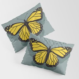 Hand-painted Monarch Butterflies, Oil Painting in Yellow and Grey, Paint Textured Butterfly Pattern  Pillow Sham