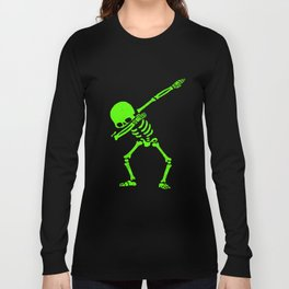Dabbing Skull Green Long Sleeve T-shirt