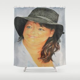 Missi and the Hat Shower Curtain