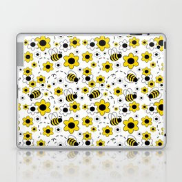 Honey Bumble Bee Yellow Floral Pattern Laptop & iPad Skin