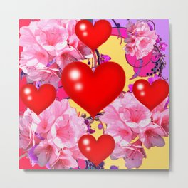 Red Hearts Art & Pink Floral Purple Patterns Metal Print