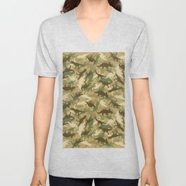 Camouflage Dinosaur Print Olive Green Khaki Tan Unisex V-Neck