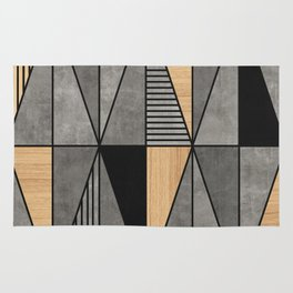 Concrete and Wood Triangles Rug
