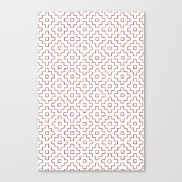 Persimmon Hitomezashi Sashiko - Red on White Canvas Print