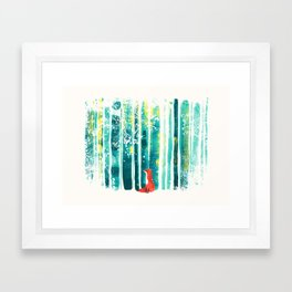 Fox in quiet forest Framed Art Print
