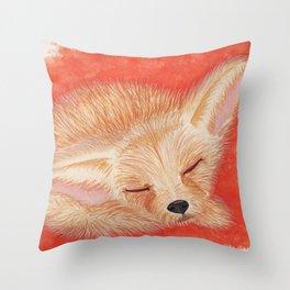 Sleeping desert fox/fennec watercolor Throw Pillow