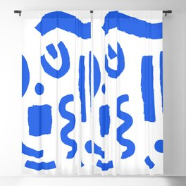 Brush Stroke Minimal 19 - Abstract Pattern Shapes Modern Mid Century Texture Blue. Gift idea Home deco Blackout Curtain