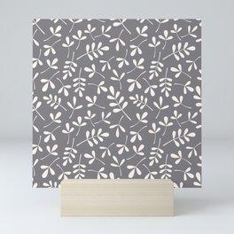 Assorted Leaf Silhouettes Cream on Grey Ptn Mini Art Print