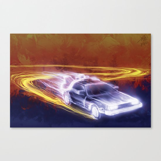 Neon Back to the Future Canvas Print