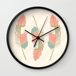 Coral and Mint Green Feathers and Stripes Wall Clock