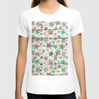 shabby chic T-shirts featuring Grunge Stars on Shabby Chic White Painted Wood by micklyn