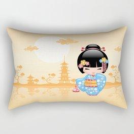 Japanese Maiko Kokeshi Doll Rectangular Pillow